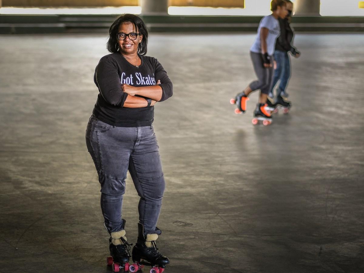 Saletta Coleman stands in roller skates