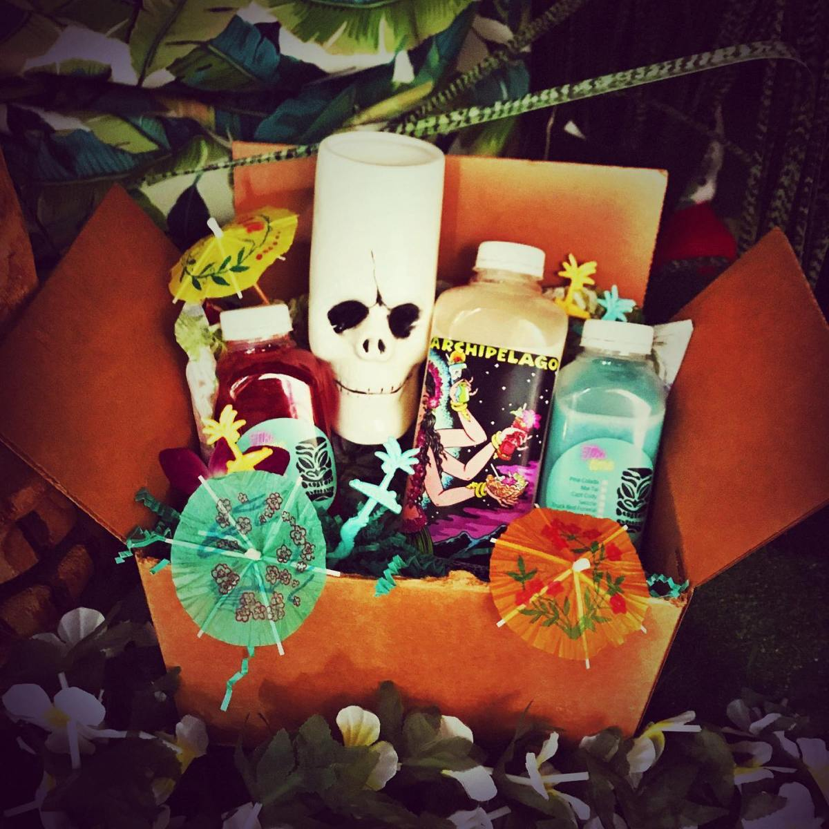Box of tiki drinks from Archipelago