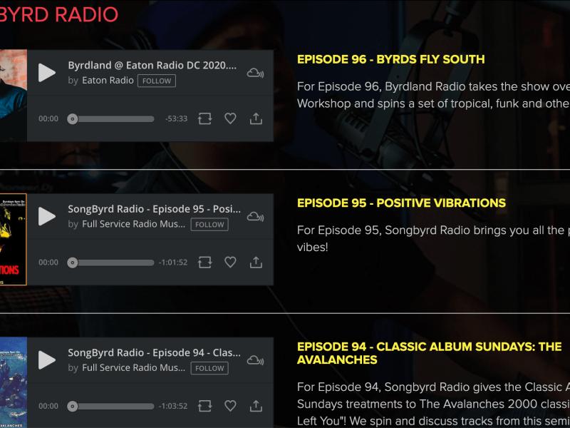 Screenshot of Songbyrd Radio page