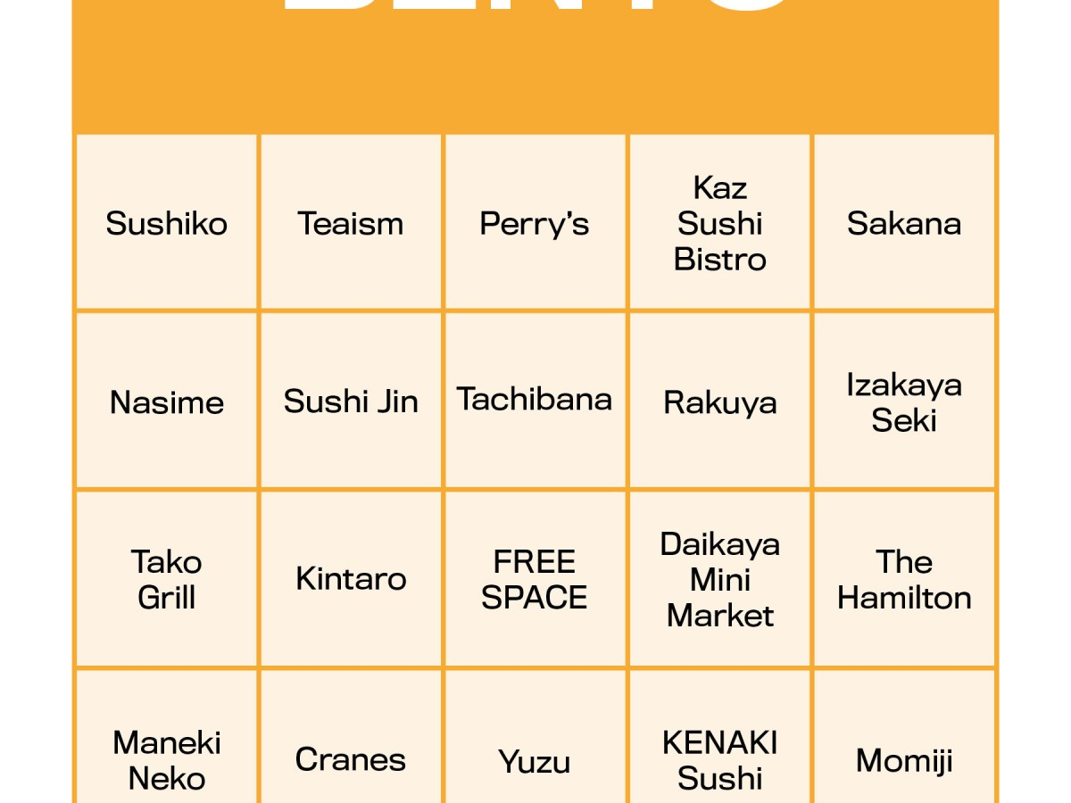 BINGO board featuring restaurants serving bento boxes