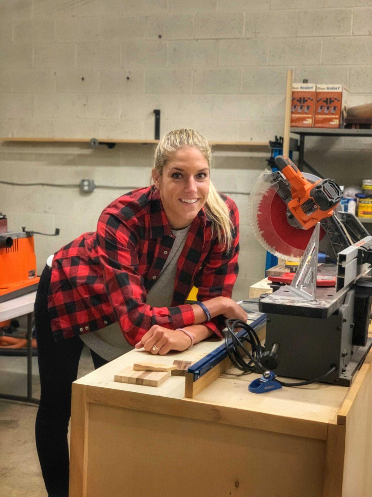 Elena Delle Donne woodworking