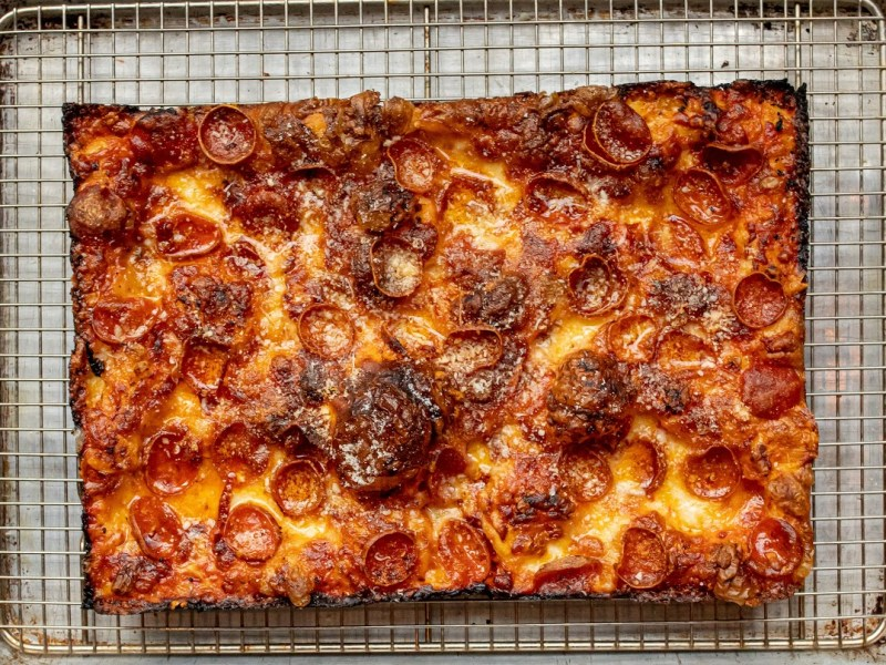 Slice Joint's square spicy pepperoni pizza