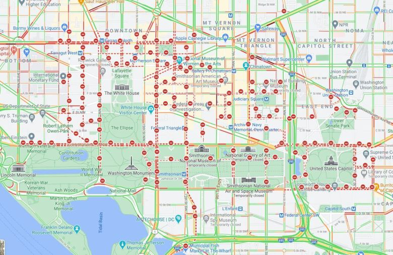 Google Map showing road closures for Inauguration Day