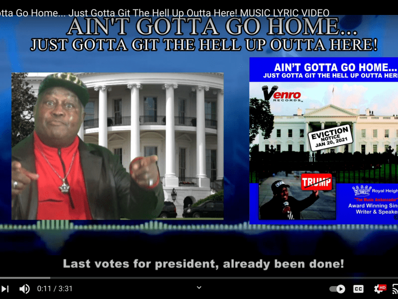 """A screenshot of the video for Royal Height's """"Ain't Gotta Go Home, Just Got to Git the Hell Up Outta Here"""""""