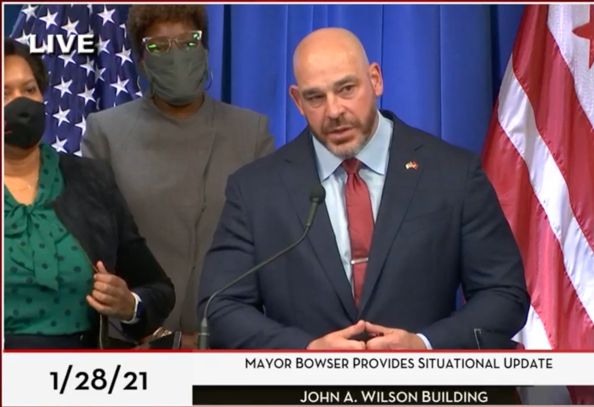 Chris Geldart speaking during a press conference