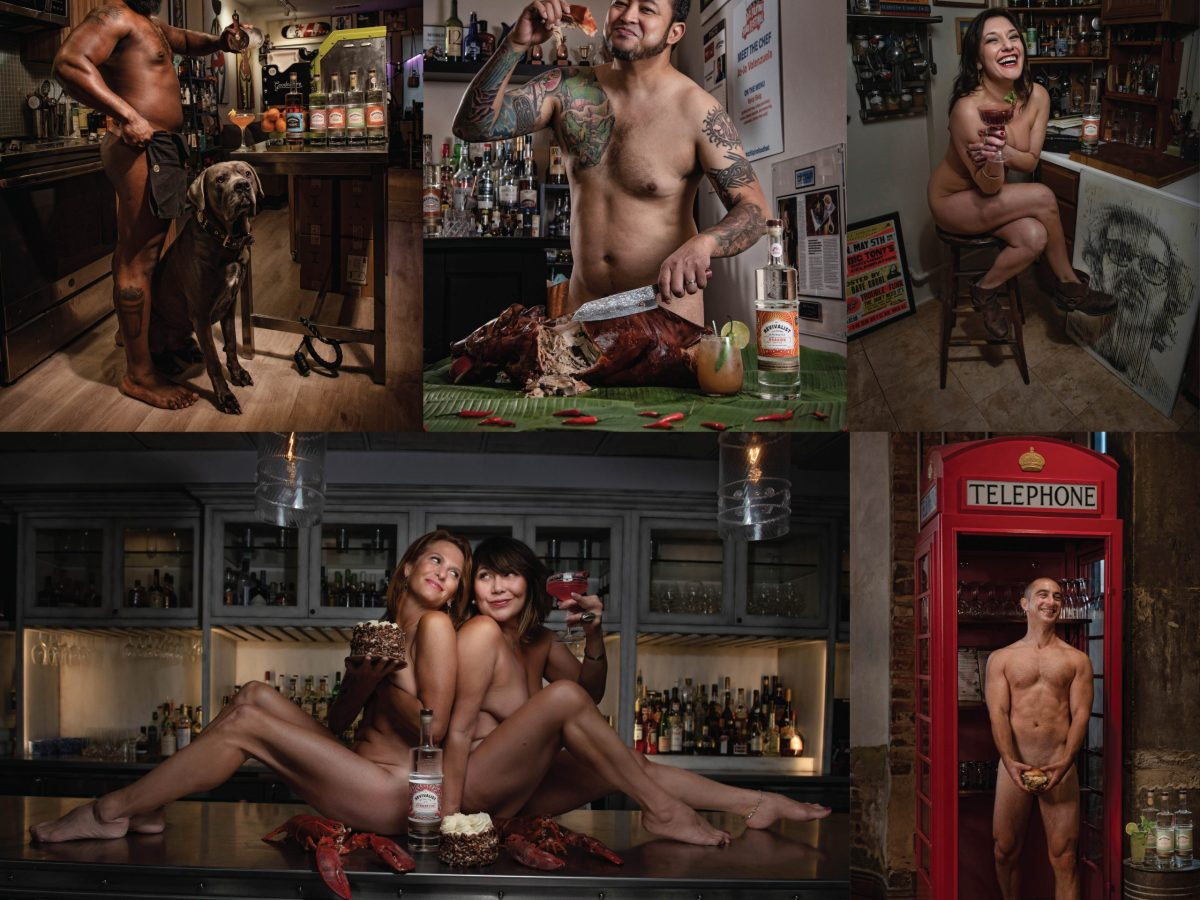 A composition of restaurant professionals posing almost nude to raise money for their industry