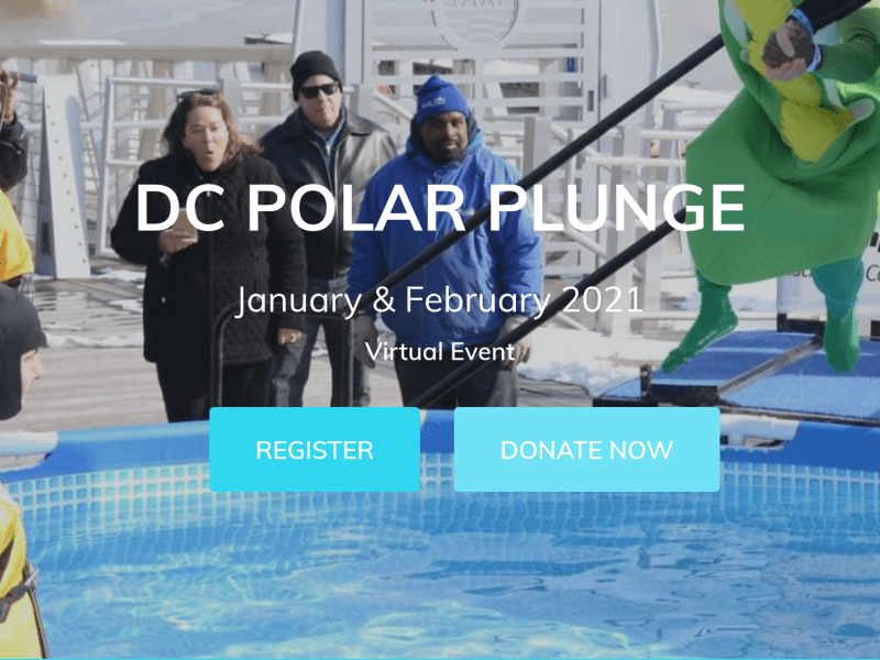 A screenshot of the Special Olympics DC Polar Plunge page.
