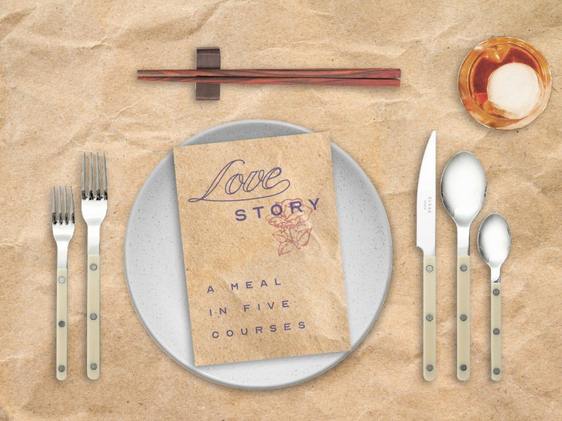 Table setting promoting the name of the play