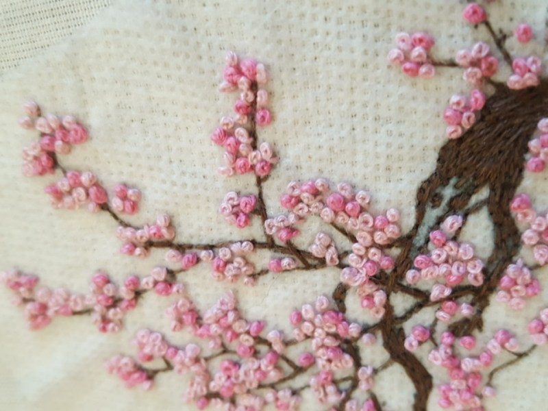 Learn to make embroidery like this cherry blossom piece over embroidery happy hour