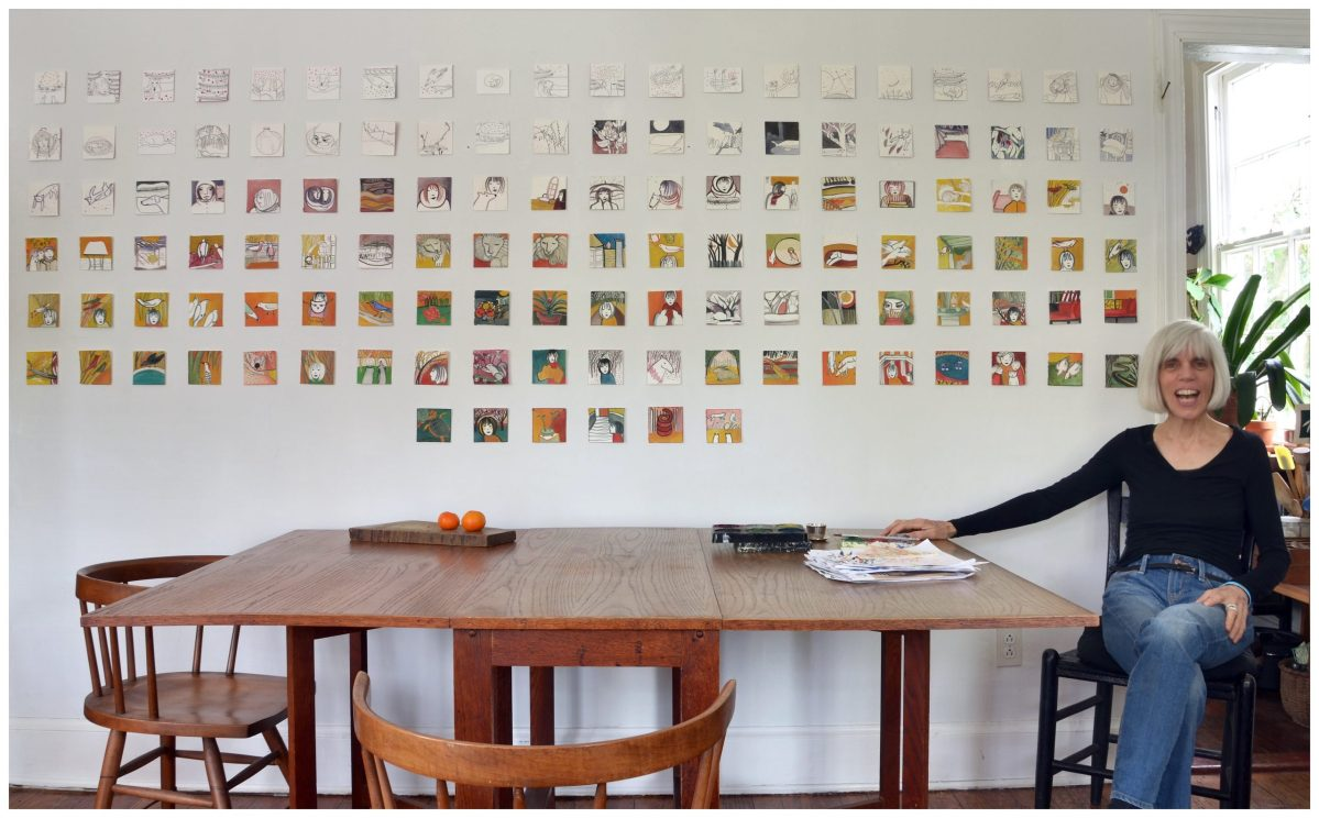 Raya Bodnarchuk at home with small paintings, 2014. Courtesy of the artist.