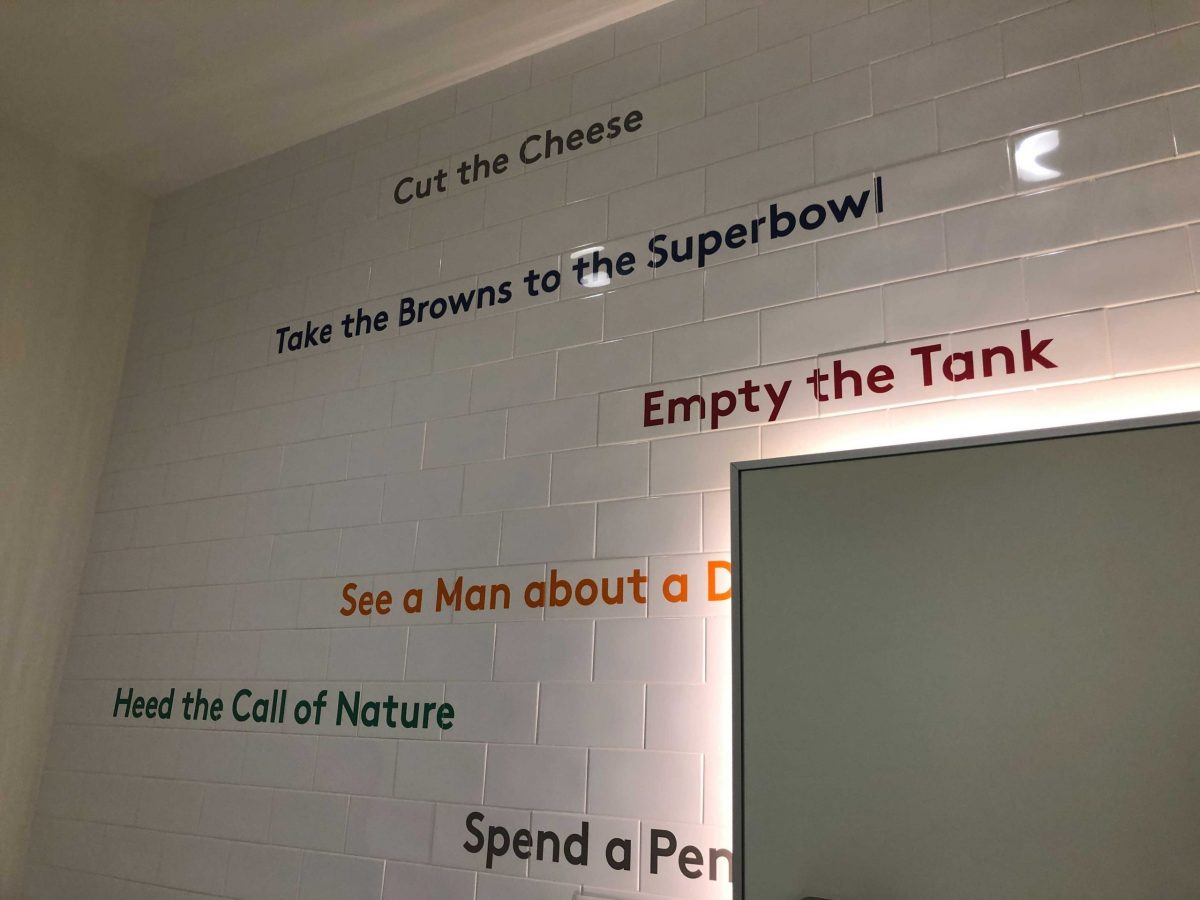 Planet Word bathroom interior showing euphemisms