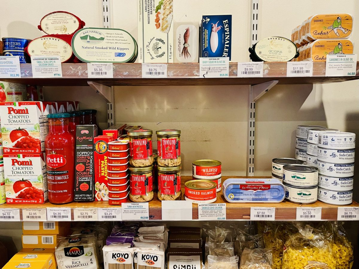 Selection of tinned fish and other ingredients at Each Peach Market