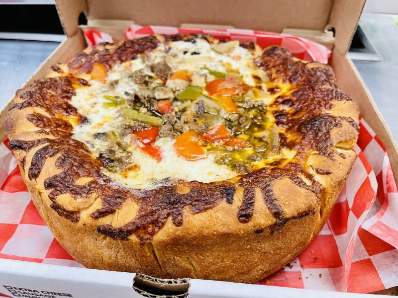 Steak and cheese DC Chi Pie deep dish pizza