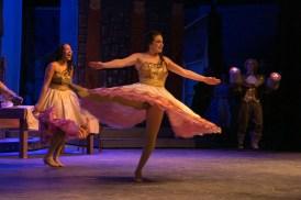 Mia Fernandez, senior, spins around and around performing an amazing
