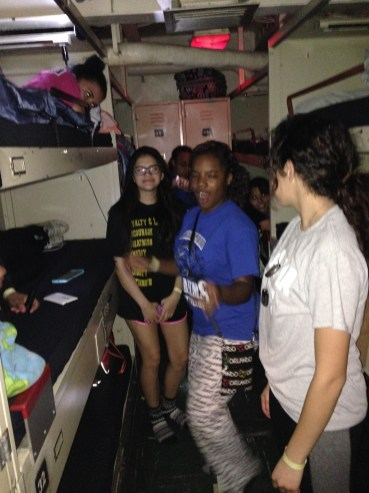 Girls in the berthing area ready for bed since everyone must be up at 6:30 am.