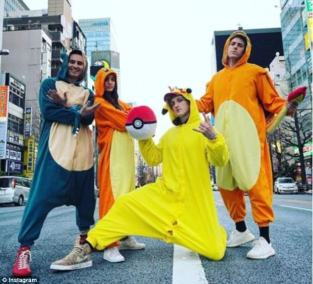 """Logan Paul and his friends dressed as Pokemon in the video titled """"Real Life Pokemon in Japan"""". From pinterest.co.uk"""