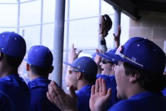 The team cheering at the Clemens scrimmage.
