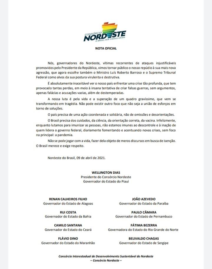 Governadores do Nordeste divulgam nota de repúdio a Bolsonaro