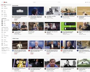 Screenshot of YouTube home page, including a section on COVID-19 news, 23 April 2020