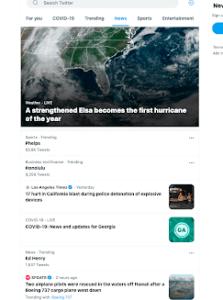 Screenshot of Twitter Explore News Feed (2 July 2021)