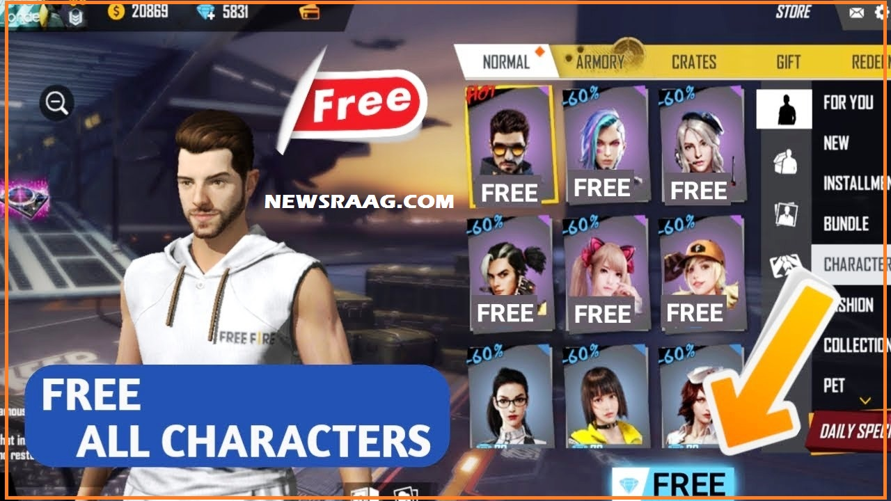how to get free character in free fire