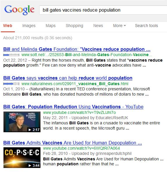"Google search results for ""Bill gates Vaccines Reduce Population"""