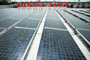 (Image) The rooftop solar array on top of the Full Goods building at the Pearl.