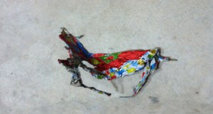 (Image) This mangled Mylar balloon got caught in a crossarm and caused a major power outage.