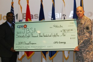 Garrick Williams director, JBSA presents Col. Mark Lee with a CPS Energy Demand Response rebate check.