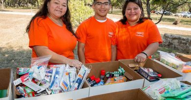 (Image) Our employees donated enough toiletries to fill more than 20 boxes for the USO