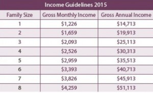 ADP income guideline table