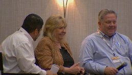 (Image) Doreen Welsh answers questions during a fireside chat with Rudy Garza, Senior Vice President of Distribution Services & Operations, and Fred Bonewell, Chief Security & Safety Officer.