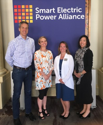 (Image) SEPA's changing Board leadership (left to right): Cris Eugster of CPS Energy, incoming Chair; Mary Kipp of El Paso Electric, new Chair-Elect; SEPA President and CEO Julia Hamm; and Past-Chair Caroline Choi of Southern California Edison.