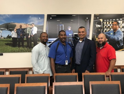 "(Image) Ret. Col. Richard ""Flip"" Wilson (second from right) with James Carter, Employee Development Analyst Wayne Piper and JBSA Career Skills Program Coordinator Jose Ontiveros"