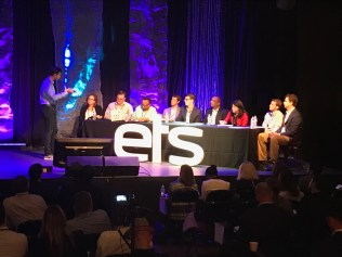 (Image) Jason Scarlett (second from left at table) served on a judge's panel for the pitch competition.