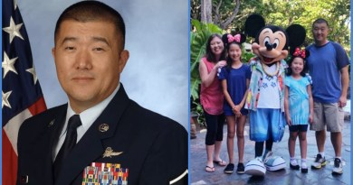 Master Sergeant Sun Kim in USAF Uniform and photo of his family