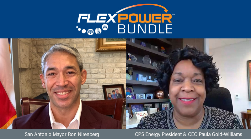 Screenshot of Mayor of San Antonio and President & CEO of CPS Energy launching a FlexPOWER RFP on video