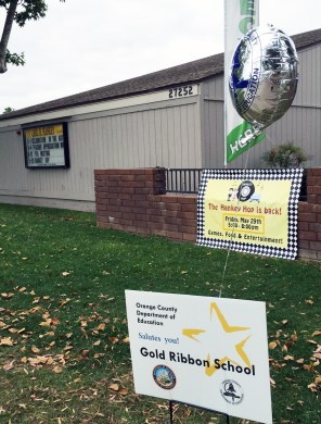 Gold Ribbon School sign in front of school