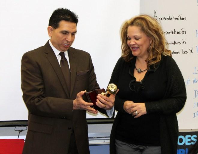 2016 Teacher of the Year Sharon Romeo and Superintendent Al Mijares