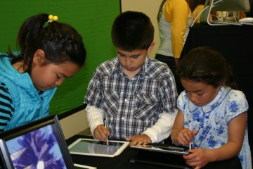 Students using tablets