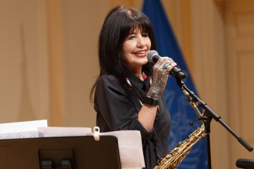Joy Harjo with saxophone