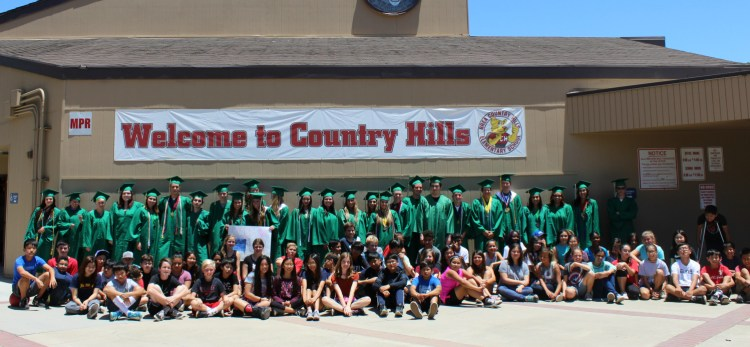 Brea Olinda High School seniors visit with Country Hills Elementary School students