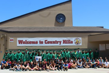 Brea Olinda High School seniors visit with Country Hills Elementary School students