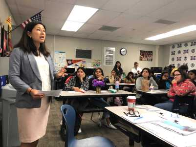 Dr. Theresa Chin talks to students