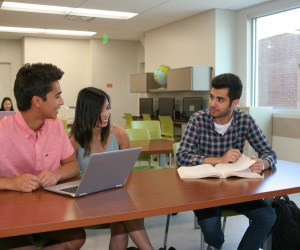 Irvine Valley College students Julian Brito, Katrina Dagg and Omid Mohammadi