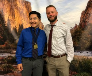 Student Maverick Malfavon and teacher Erik Peterson
