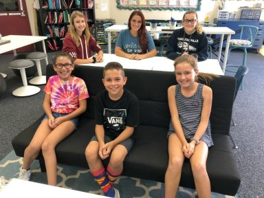 Teacher Mandy Kelly and her students