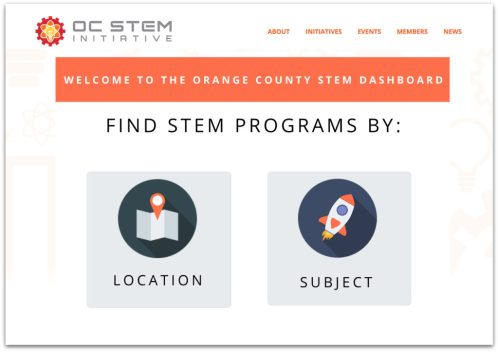 Screenshot of the OC STEM Dashboard
