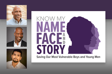 Title card for event, Know My Name, Face and Story