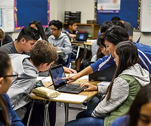 Fullerton Joint Union High School District working on computer